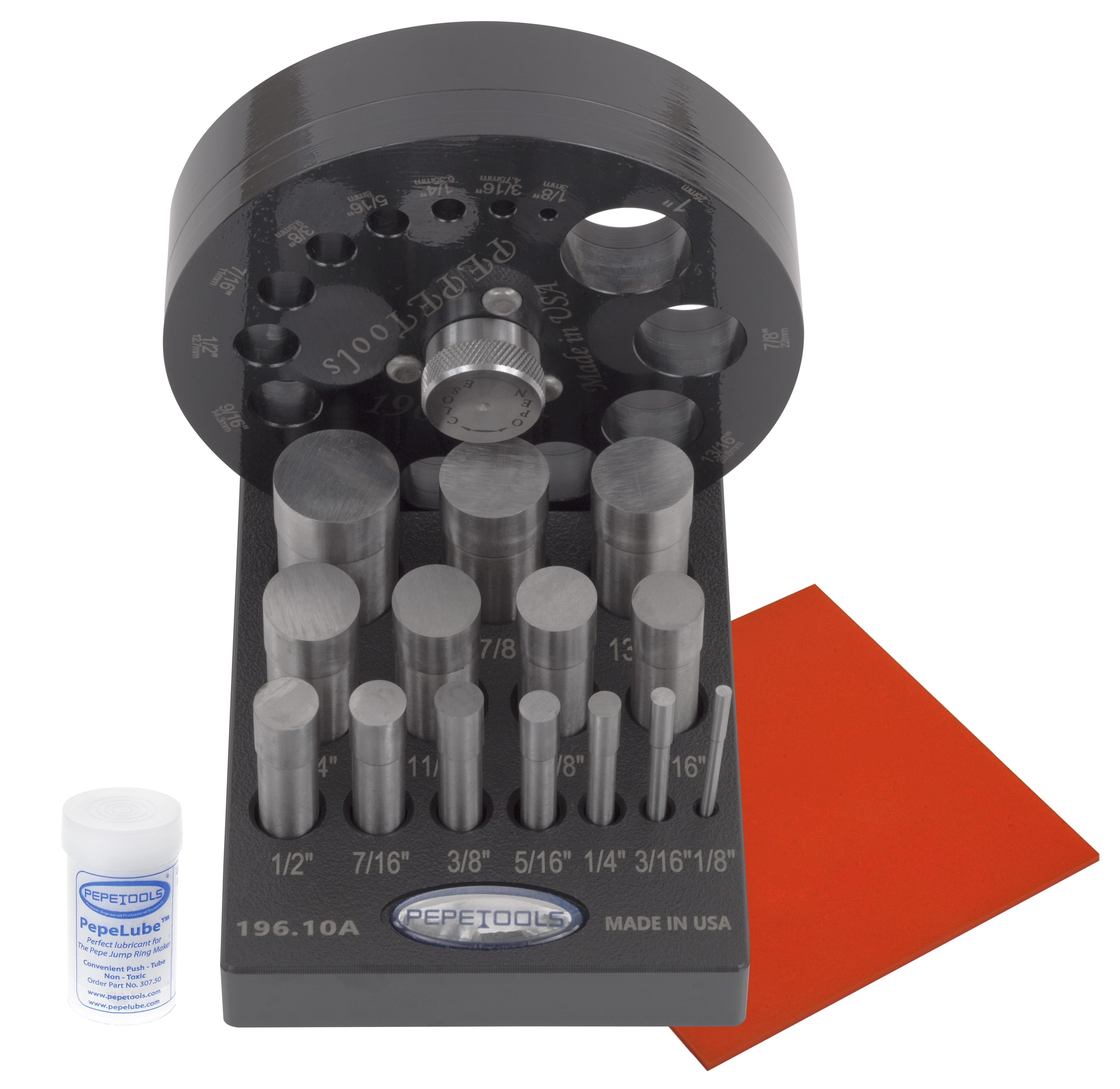 "Pepetools 14 Part Professional Disc Cutting Kit with Pepe Lube™ & 6"" x 6"" Red Urethane Pad"