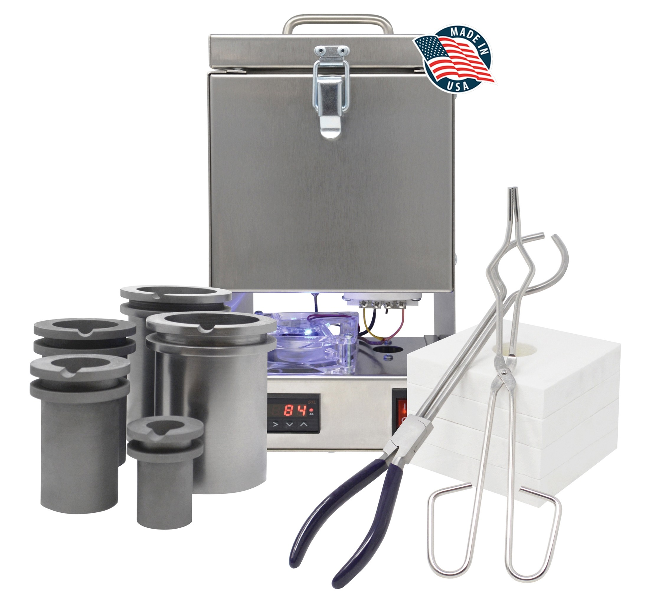 TableTop Furnace Deluxe QuikMelt Kit with Crucibles, Tongs, & Interchangeable Flanges - Made in the U.S.A.