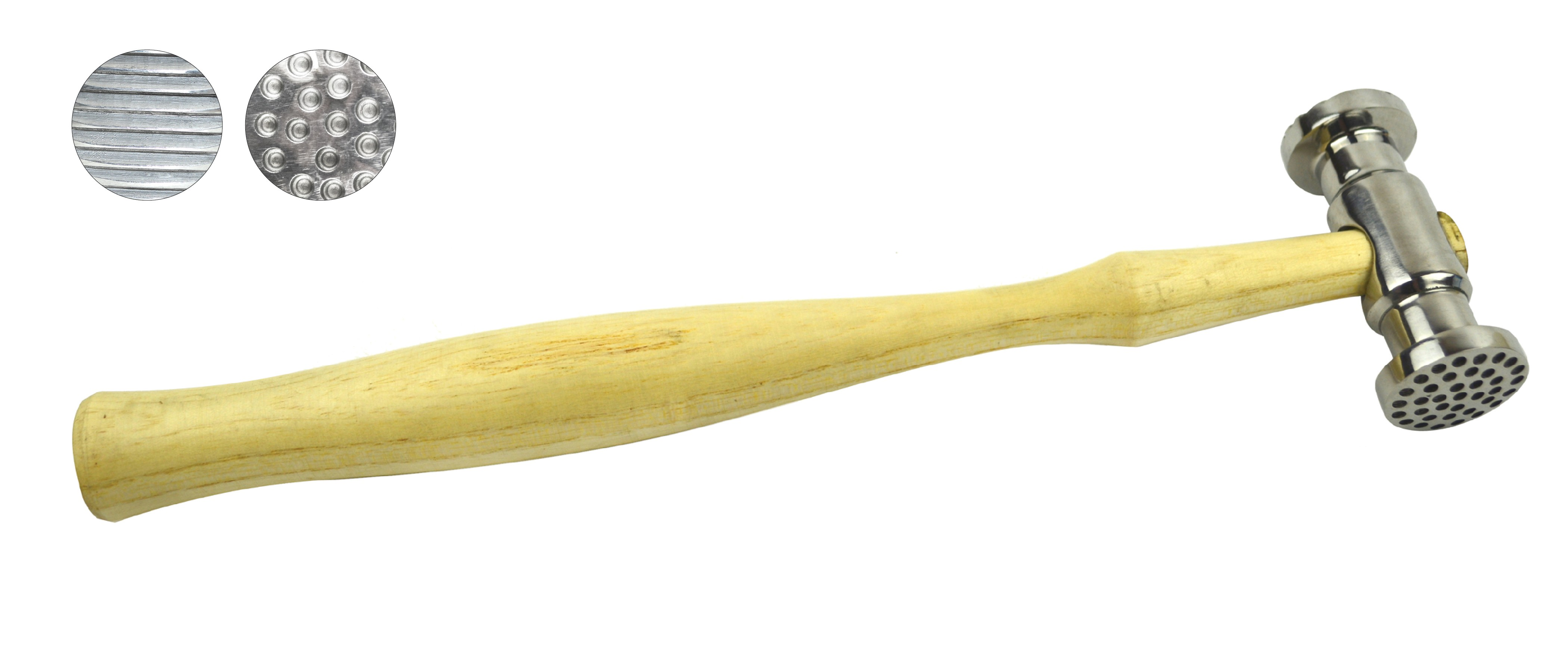 "10"" 9 oz Texturing Hammer w/ Round Dimples and Narrow Pinstripes"