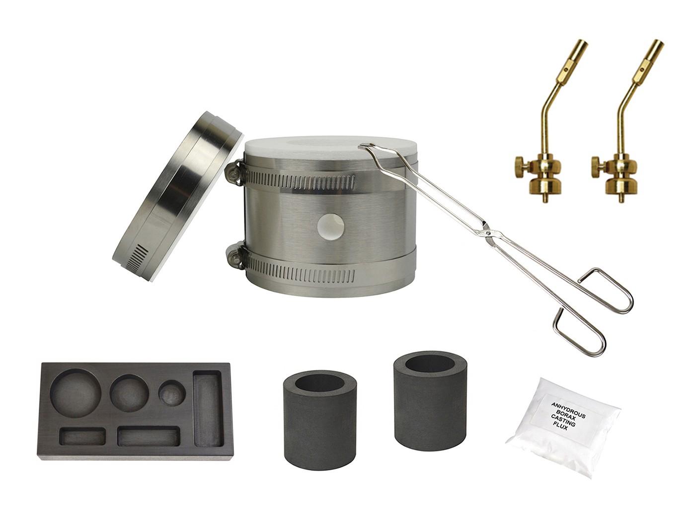 Deluxe Mini Kwik Kiln Propane Furnace w/ 6 Cavity (1/4, 1/2, and 1 oz) Mold and Brass Propane Bottle Tips