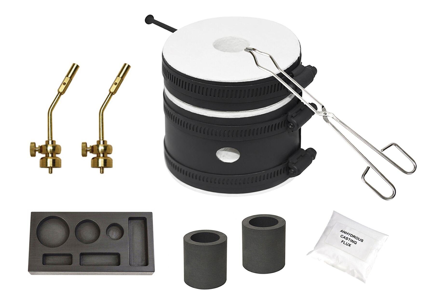 Mini Propane Gas Furnace Kit Flux Kiln Crucibles /& Tongs Tips Mold MELT Gold /& Silver