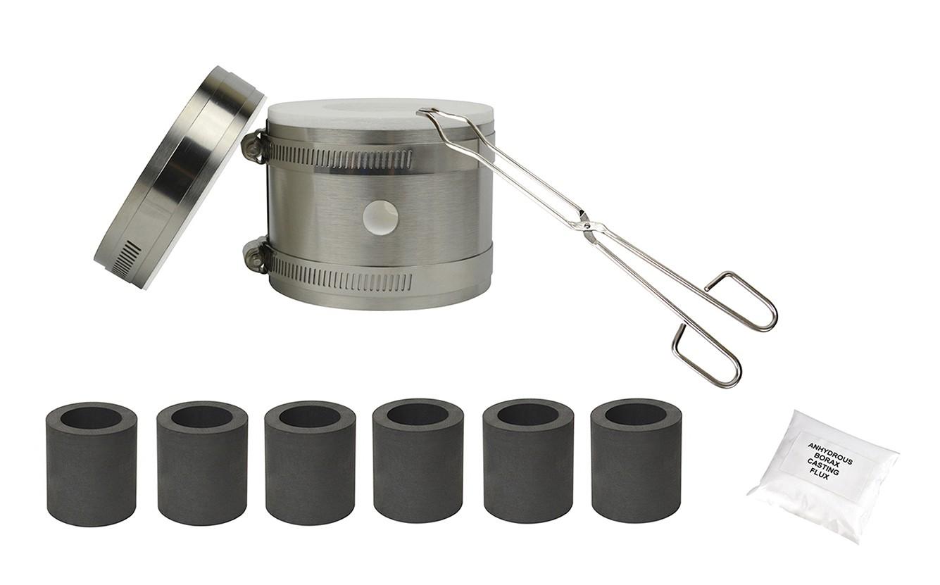 Mini Kwik Kiln Propane Furnace Kit w/ Graphite Crucibles Tongs and Flux