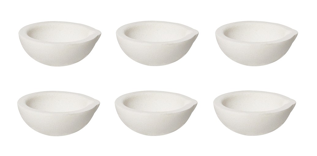 Set of 6 - 100 Gram 3 oz Ceramic Alumina Crucible Dishes