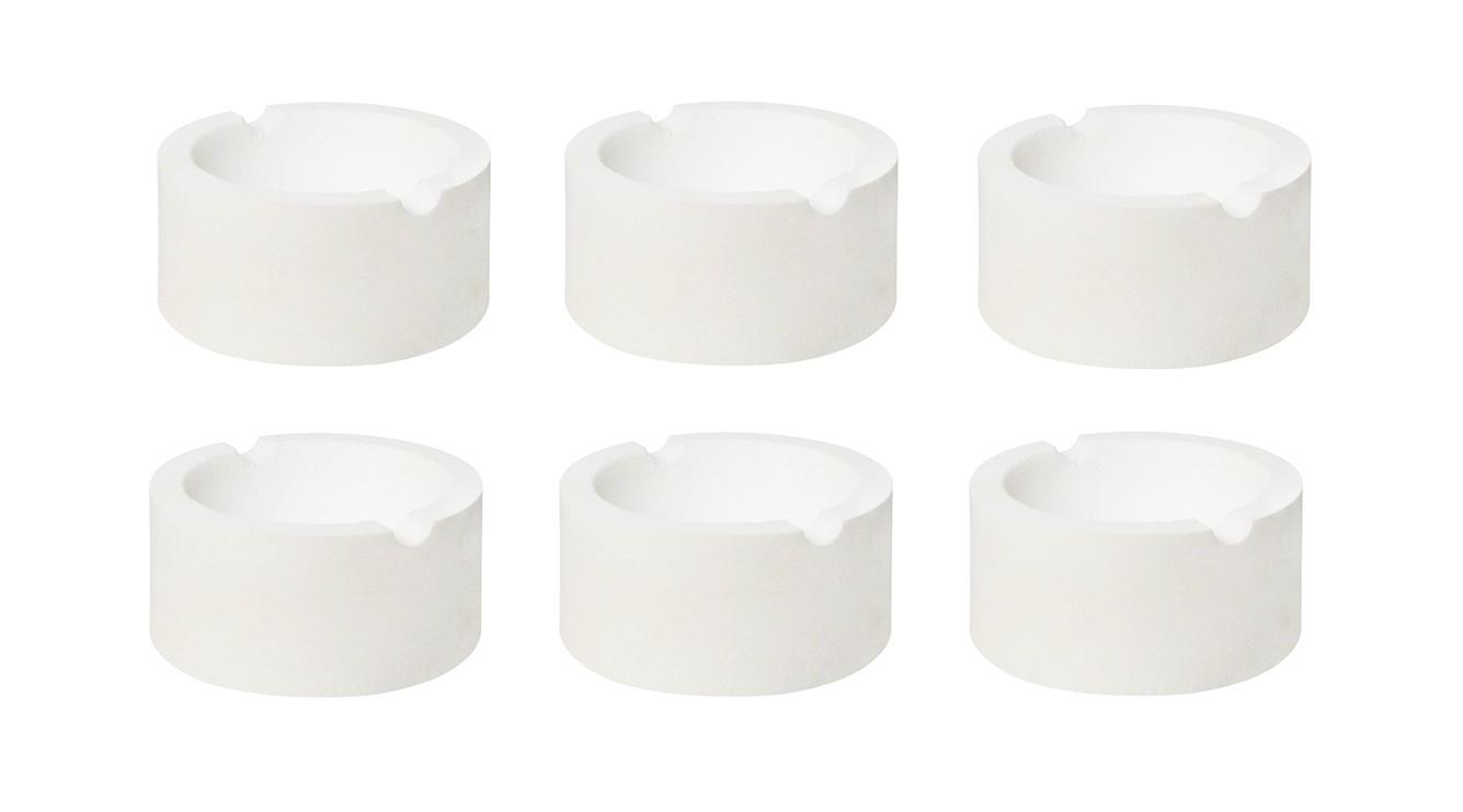 "Set of 6 3"" 7 oz Ceramic Silica Crucible Dish Cups"
