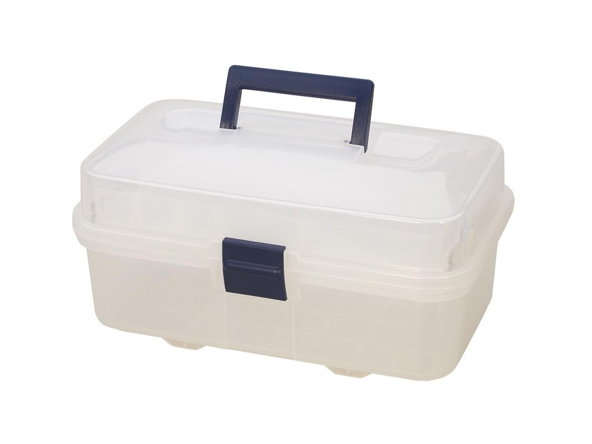 Clear Plastic Storage Box W Compartments Pkg 32070 Pmc Supplies