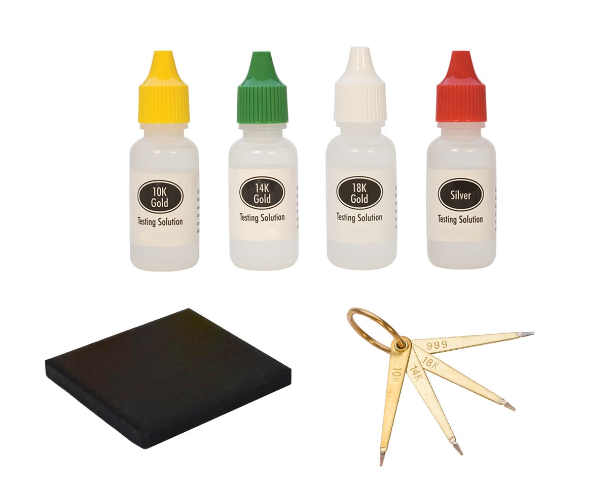 5cdbb02359dc3c 10K, 14K, 18K, .999S Gold Silver Testing Set with Needles Stone &  Solutions, TEST-0012 | PMC Supplies