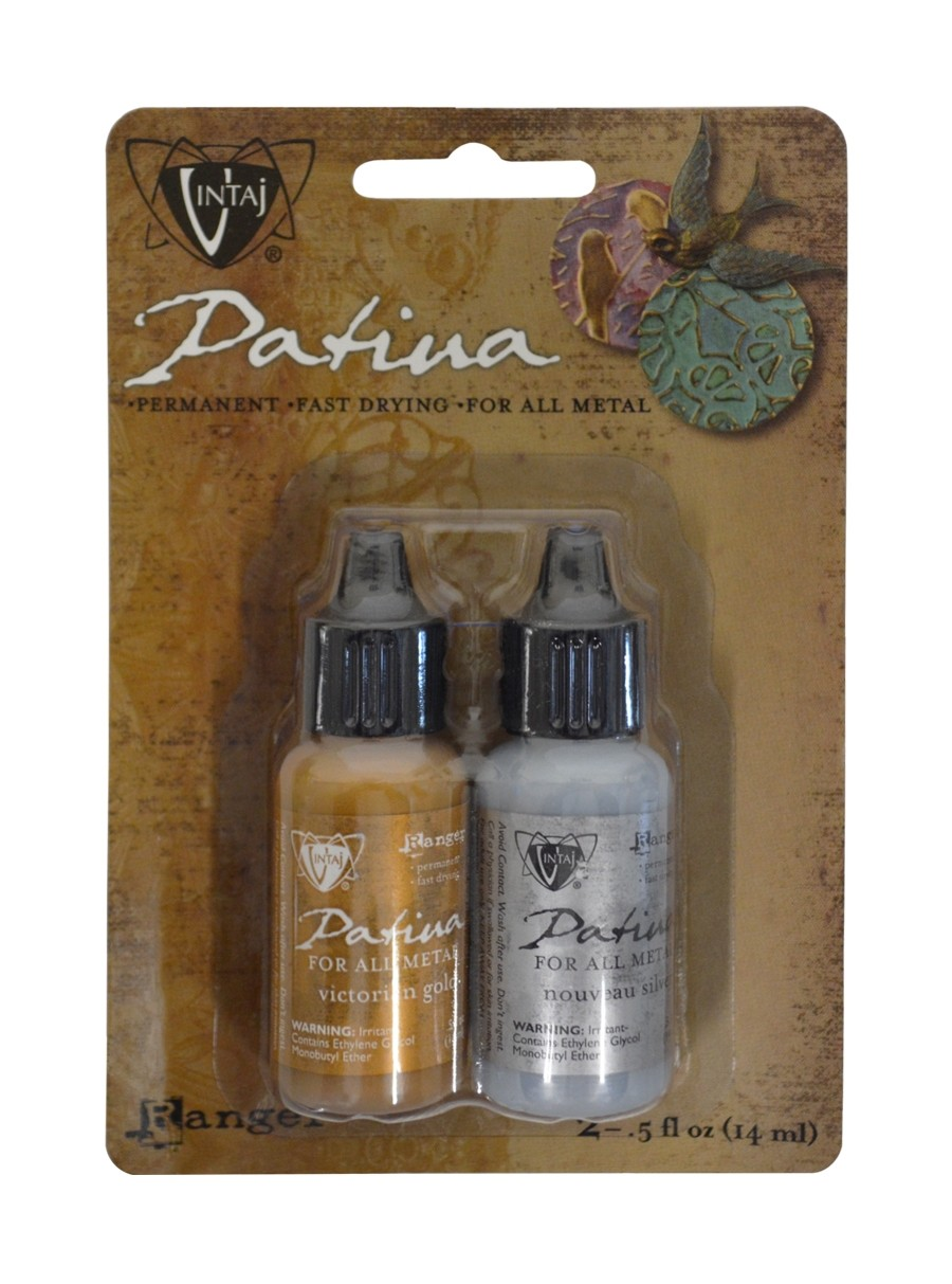 Vintaj® Ranger Patina™ Inks - Treasured Heirloom Metallic Nouveau Silver & Victorian Gold