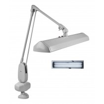 """Dazor® 2 Tube Fluorescent Light Clamp-Type Lamp - Gray, 110V with 43"""" Reach"""