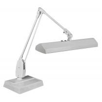 "Dazor® 3 Tube Fluorescent Light Desk-Type Lamp - Gray, 110V with 33"" Reach"