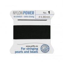 BLACK NYLON BEAD CORD #1
