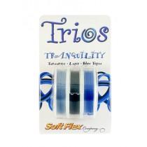 "Soft Flex Trio - Tranquility: Tanzanite, Lapis, and Blue Topaz 0.19"""