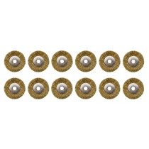 "12/Pk 3/4"" Unmounted Crimped Brass Brushes, 3/32"" Hole"