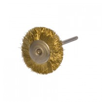 "1"" MOUNTED BRUSH, BRASS STRAIGHT, 3/32"" MANDREL"
