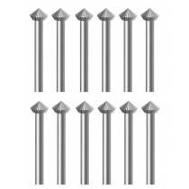 12-Piece 45 Degree Hart Bur Set with Wooden Stand Sizes 0.90 to 3.10 MM