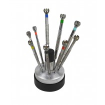 Set of 9 Screwdrivers w/ Revolving Stand & Spare Blades
