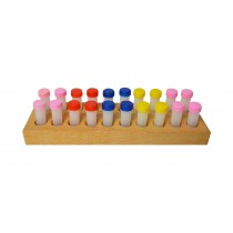 Storage Set with 20 Plastic Drill Bottles & Wooden Stand