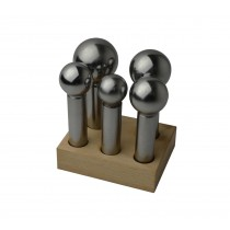 5 Piece Large Steel Dapping Punch Set w/ Wooden Stand - 28 MM to 45 MM