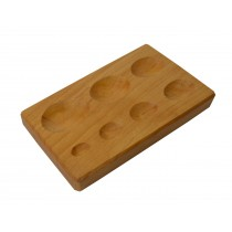 "6-1/2"" x 3-1/2"" x 3/4"" 7-Cavity Wooden Oval Shaped Dapping Block"