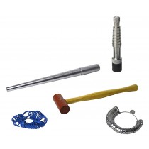 "Ring Sizing Kit w/ Rathburn Ring Stretcher Mandrel Measuring Stick and 1"" Rawhide Hammer"