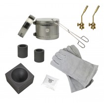 "Deluxe Mini Kwik Kiln Propane Furnace Kit w/ 2"" x 1-1/2"" Single Cavity Graphite Conical Mold, Heat Resistant Gloves, and Brass Torch Tips"