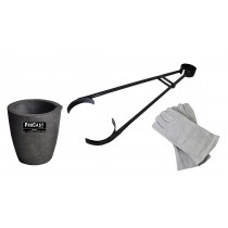 "No 3 - 4 Kg Clay Graphite Foundry Crucible Kit w/ 26"" Foundry Crucible Tongs and 13"" Cowhide Welding Gloves"
