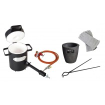 "4 Kg Propane Furnace Kit with No. 3 - 4 Kg Clay Graphite Foundry Crucible, 19"" Hinge Tongs, and 13"" Heat-Resistant Gloves"
