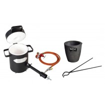 "4 Kg Propane Furnace Kit with No. 3 - 4 Kg Clay Graphite Foundry Crucible and 19"" Hinge Tongs"