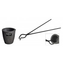 "No 3 - 4 Kg Clay Graphite Foundry Crucible Kit with 19"" Hinge-Style Foundry Crucible Tongs"