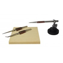 "Soldering Kit with Fiber-Grip Tweezers, Third Hand Base, & 6"" x 6"" Heat-Resistant Board"