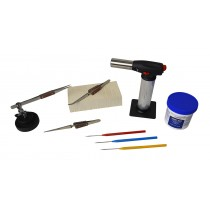 Soldering Kit with Butane Torch, Magnesia Block, Fiber-Grip Tweezers, Handy Flux, Picks, & Helping Third Hand Base