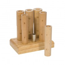 6-Piece Wooden Ring Mandrel in Base with Stand - Whole Sizes 4-15