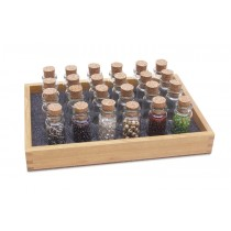 Wooden Bead Tray with 20 Glass Storage Bottles