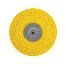 "Knife Edge Stitched Yellow Muslin Buff - 4"" x 12 Folds"