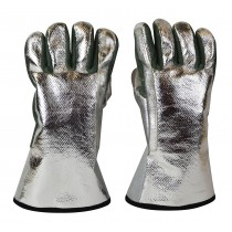 "Aluminized Carbon Heat-Resistant Kevlar® 13"" / 18 Oz Melting Furnace Gloves"
