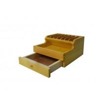 "3-3/4"" x 6-1/2"" x 7-1/2"" Wooden Plier Storage Rack with Drawer"
