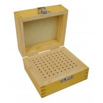 "4-1/2"" x 4-1/2"" x 3"" Wooden 3/32"" Bur Square Organizer Storage Box with 72 Holes"