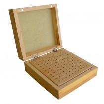 "5-3/4"" x 5-3/4"" x 3"" Wooden 3/32"" Bur Organizer Storage Box with 100 Holes"