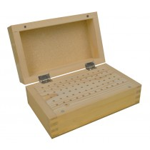 "6-1/2"" x 4"" x 2-3/4"" Wooden 3/32"" Bur Rectangular Organizer Storage Box w/ 72 Holes"