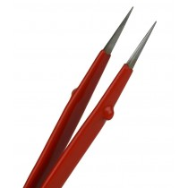 """6-1/2"""" Insulated Pointed Tip Curved Jewelry Repair Tweezers"""