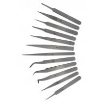 12-Piece Anti-Magnetic Stainless Steel Tweezers Set