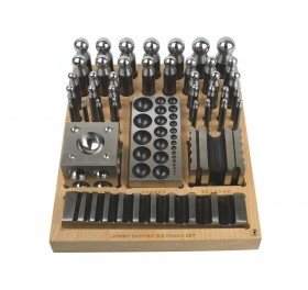 40 Piece Steel Dapping and Doming Punch Set w/ Wooden Block Base