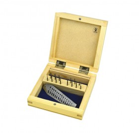Screw Plate with 14 Taps w/ Holes Sizes 0.7 mm to 2 mm w/ Wooden Box