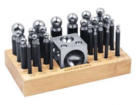 26 Piece Dapping Doming Punch Block Set 2.3 mm to 25 mm