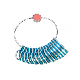 Silver and Blue Aluminum Ring Sizer w/ Sizes 1-15