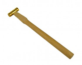 """9"""" 2 oz Brass Hammer w/ Flat Head and Wooden Handle"""