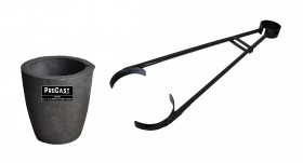 """No 3 - 4 Kg Clay Graphite Foundry Crucible Kit w/ 26"""" Foundry Crucible Flask Tongs"""