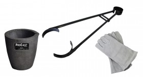 """No 3 - 4 Kg Clay Graphite Foundry Crucible Kit w/ 26"""" Foundry Crucible Tongs and 13"""" Cowhide Welding Gloves"""