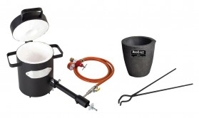 "4 Kg Propane Furnace Kit w/ No 3 - 4 Kg Clay Graphite Foundry Crucible and 19"" Hinge Tongs"