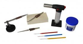 Soldering Kit w/ Butane Torch Magnesia Block Fiber Cross-Locking Tweezers Handy Flux Picks and Helping Third Hand Base