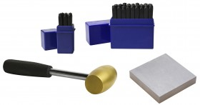 """4 mm 5/32"""" 36 Piece Steel Alphabet/Letter and Number Set w/ 1 Lb Brass Hammer and Steel Bench Block"""
